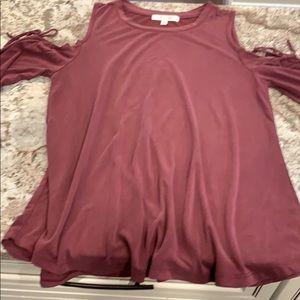 Maroon cold shoulder long sleeve shirt